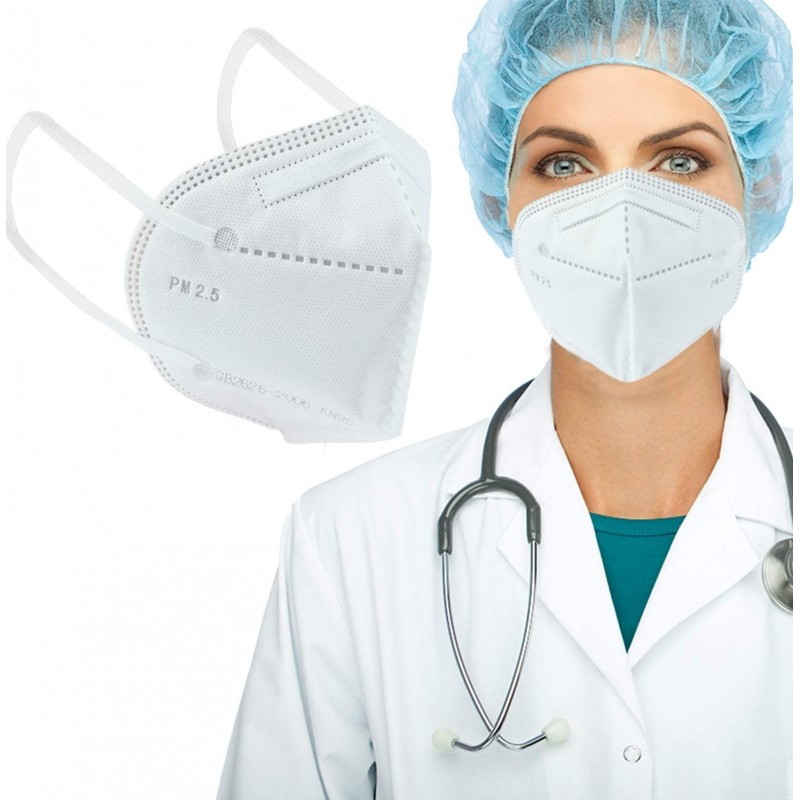 盒装10个 呼吸防护面罩 KN95 95%过滤。防护口罩。 PM2.5。五层保护。抗感染病毒和细菌