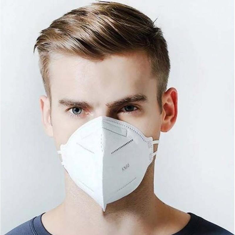 Caja de 10 unidades Mascarillas Protección Respiratoria Mascarilla respiratoria autofiltrante. KN95. 95% de filtración. Cinco capas. Protección contra virus y bacterias. PM2.5