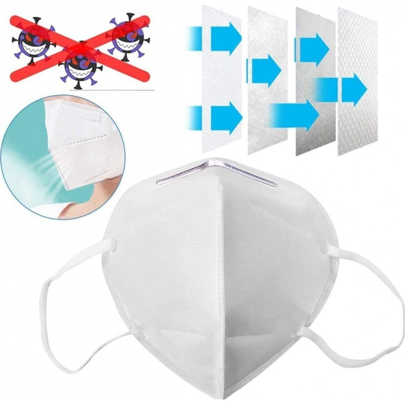 75,95 € Free Shipping | 10 units box Respiratory Protection Masks KN95 95% Filtration. Protective respirator mask. PM2.5. Five-layers protection. Anti infections virus and bacteria