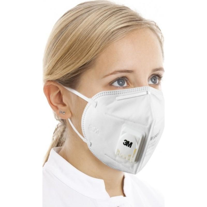 89,95 € Бесплатная доставка | Коробка из 10 единиц Респираторные защитные маски 3M 9501V KN95 FFP2. Защитная респираторная маска из твердых частиц с клапаном PM2.5. Респиратор с фильтром частиц
