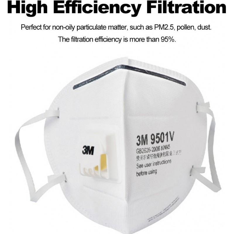 89,95 € 免费送货 | 盒装10个 呼吸防护面罩 3M 9501V KN95 FFP2。带阀门PM2.5的防毒口罩面罩。颗粒过滤器防毒面具
