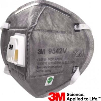 Caixa de 50 unidades 3M 9542V KN95 FFP2. Máscara de proteção respiratória com válvula. Respirador com filtro de partículas PM2.5