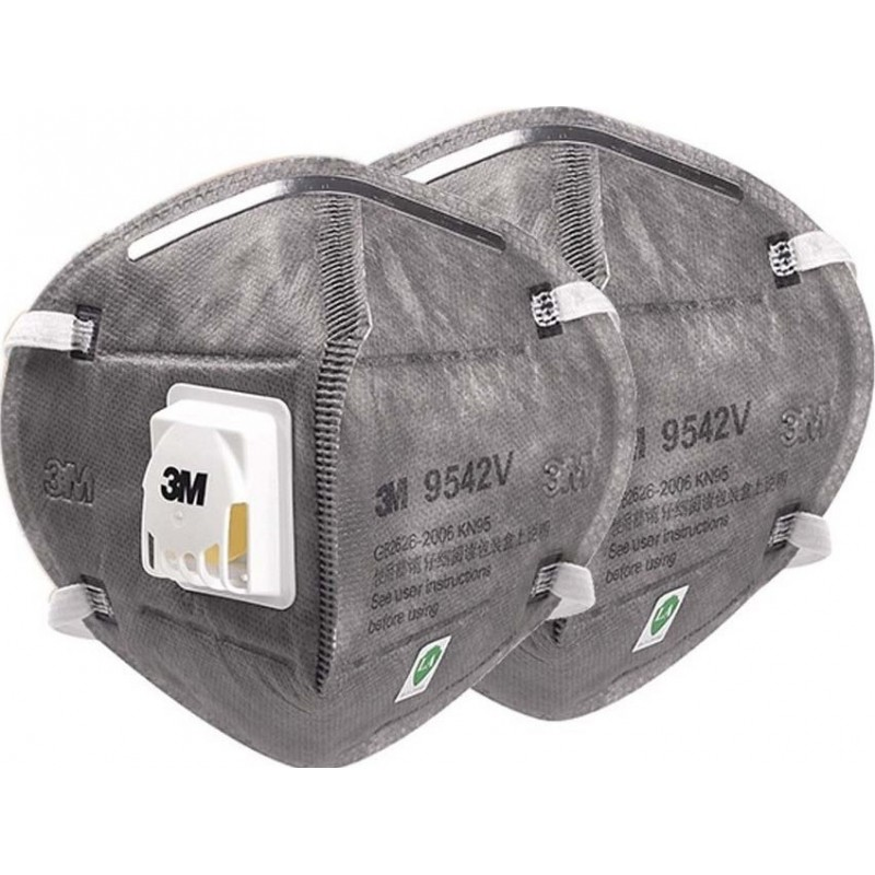 349,95 € Envío gratis | Caja de 50 unidades Mascarillas Protección Respiratoria 3M 9542V KN95 FFP2. Mascarilla de protección respiratoria autofiltrante con válvula. Respirador de filtro de partículas PM2.5