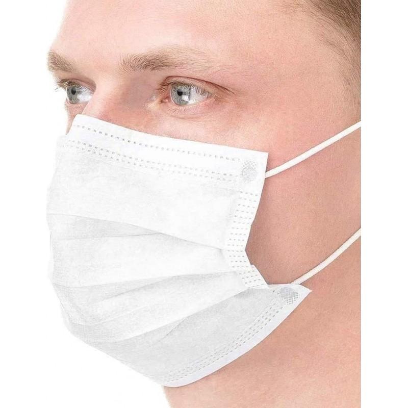 盒装50个 呼吸防护面罩 一次性面部卫生口罩。呼吸系统防护。三层过滤透气