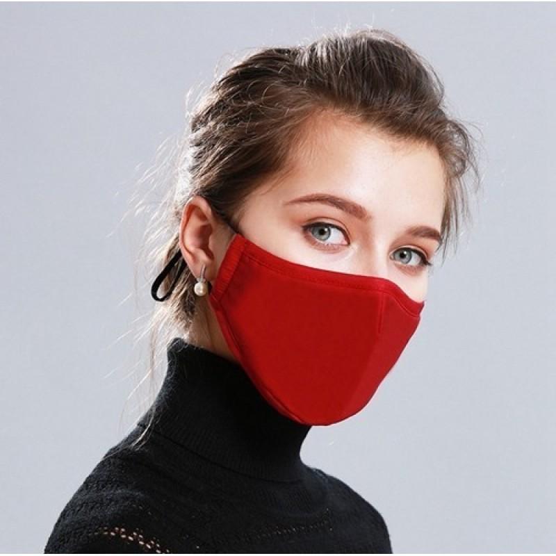 5個入りボックス 呼吸保護マスク 赤色。 50個の木炭フィルターが付いている再使用可能な呼吸保護マスク