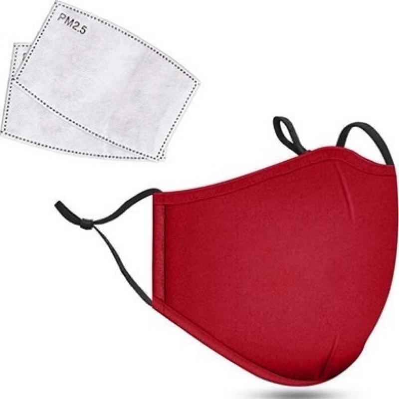 5 Einheiten Box Atemschutzmasken Rote Farbe. Wiederverwendbare Atemschutzmasken mit 50 Stück Kohlefilter