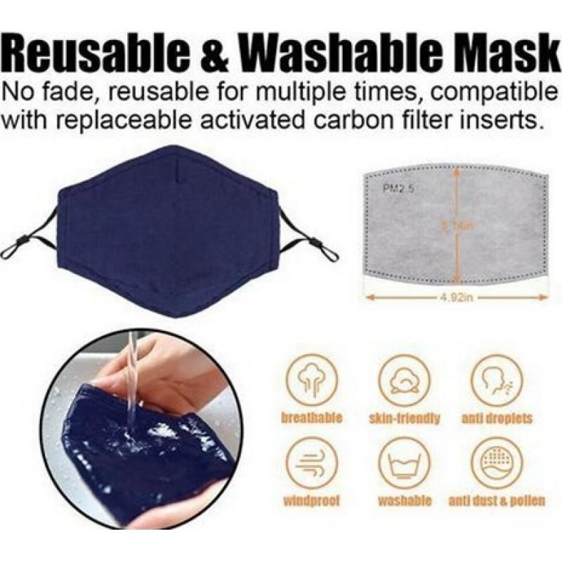 Boîte de 5 unités Masques Protection Respiratoire Couleur noire. Masques de protection respiratoire réutilisables avec 50 filtres à charbon