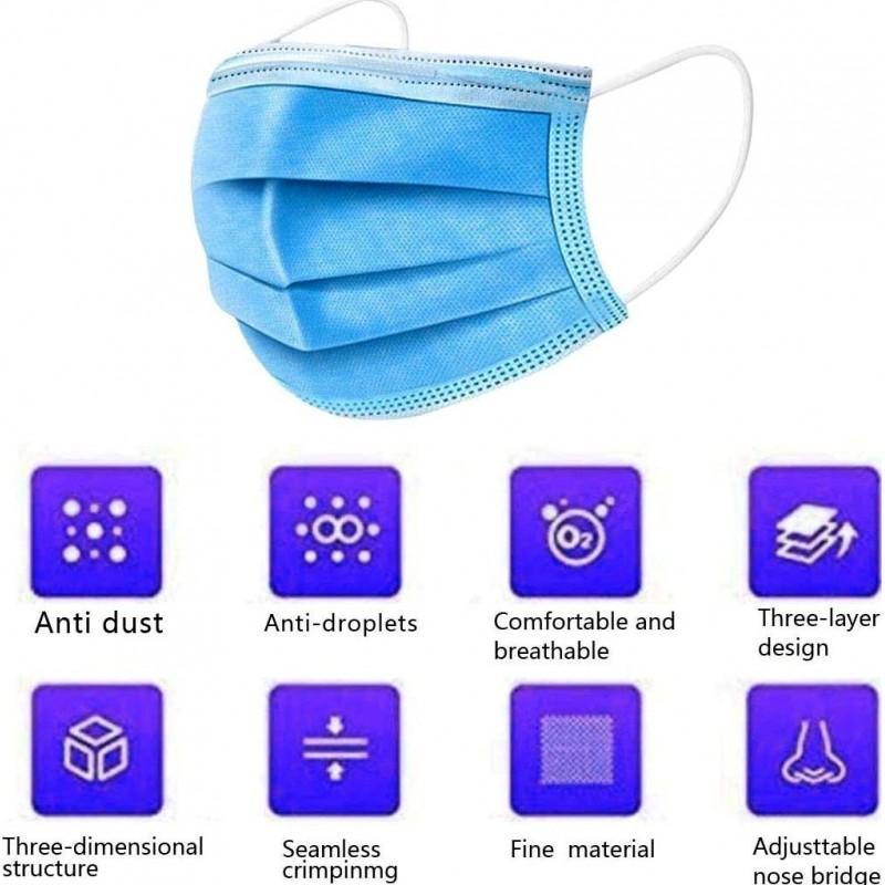 99,95 € Spedizione Gratuita | Scatola da 500 unità Maschere Protezione Respiratorie Maschera sanitaria monouso per il viso. Protezione respiratoria Traspirante con filtro a 3 strati