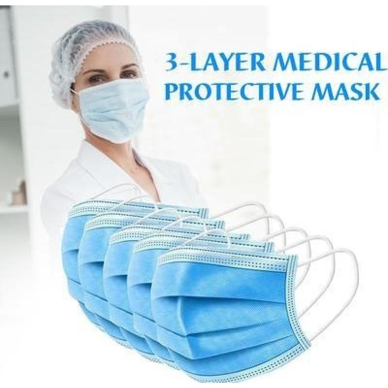 99,95 € 免费送货 | 盒装500个 呼吸防护面罩 一次性面部卫生口罩。呼吸系统防护。三层过滤透气