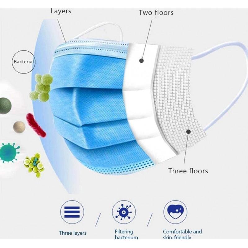 99,95 € 送料無料 | 500個入りボックス 呼吸保護マスク 使い捨てフェイシャルサニタリーマスク。呼吸保護。 3層フィルターで通気性