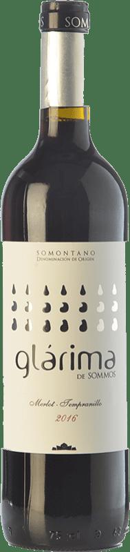 5,95 € Free Shipping | Red wine Sommos Glárima Tinto Joven D.O. Somontano Catalonia Spain Tempranillo, Merlot, Syrah, Cabernet Sauvignon Bottle 75 cl