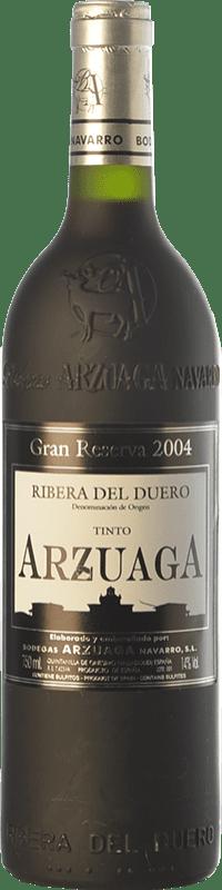 88,95 € Envío gratis | Vino tinto Arzuaga Gran Reserva 2004 D.O. Ribera del Duero Castilla y León España Tempranillo, Merlot, Cabernet Sauvignon Botella 75 cl