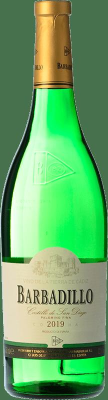 4,95 € 免费送货   白酒 Barbadillo Castillo de San Diego Joven I.G.P. Vino de la Tierra de Cádiz 安达卢西亚 西班牙 Palomino Fino 瓶子 75 cl