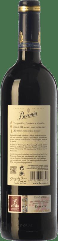 13,95 € Free Shipping | Red wine Beronia Reserva D.O.Ca. Rioja The Rioja Spain Tempranillo, Graciano, Mazuelo Bottle 75 cl