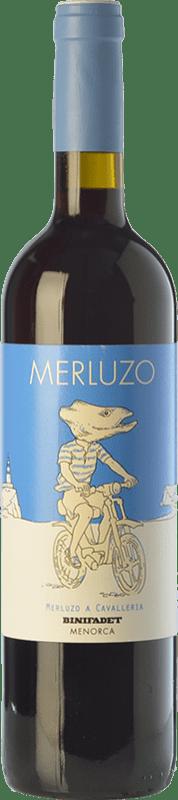 9,95 € Free Shipping | Red wine Binifadet Merluzo Joven I.G.P. Vi de la Terra de Illa de Menorca Balearic Islands Spain Merlot, Syrah Bottle 75 cl