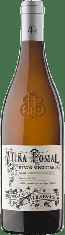 32,95 € 免费送货 | 白酒 Bodegas Bilbaínas Viña Pomal Crianza D.O.Ca. Rioja 拉里奥哈 西班牙 Tempranillo White 瓶子 75 cl