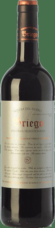 9,95 € Envoi gratuit | Vin rouge Briego Vendimia Seleccionada Joven D.O. Ribera del Duero Castille et Leon Espagne Tempranillo Bouteille 75 cl