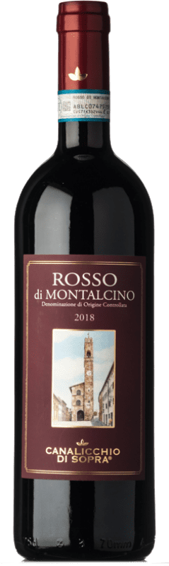28,95 € Free Shipping | Red wine Canalicchio di Sopra D.O.C. Rosso di Montalcino Tuscany Italy Sangiovese Bottle 75 cl