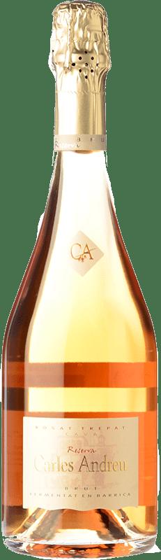 23,95 € 免费送货 | 玫瑰气泡酒 Carles Andreu Rosat Barrica 香槟 Reserva D.O. Cava 加泰罗尼亚 西班牙 Trepat 瓶子 75 cl
