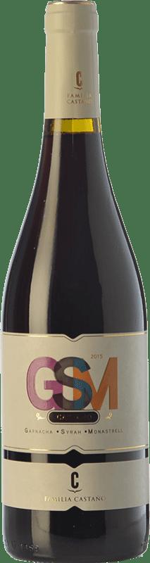 6,95 € Envío gratis | Vino tinto Castaño GSM Joven D.O. Yecla Región de Murcia España Syrah, Monastrell, Garnacha Tintorera Botella 75 cl