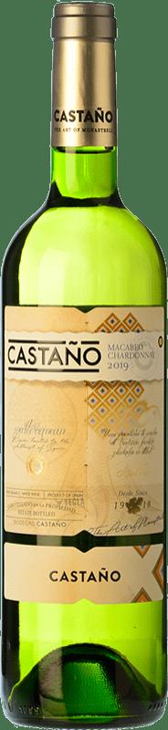 7,95 € Envío gratis | Vino blanco Castaño Crianza D.O. Yecla Región de Murcia España Macabeo, Chardonnay Botella 75 cl