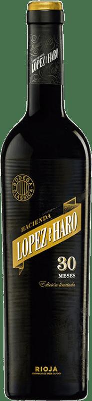37,95 € 免费送货 | 红酒 Classica Hacienda López de Haro 30 Meses Gran Reserva D.O.Ca. Rioja 拉里奥哈 西班牙 Tempranillo, Grenache 瓶子 75 cl