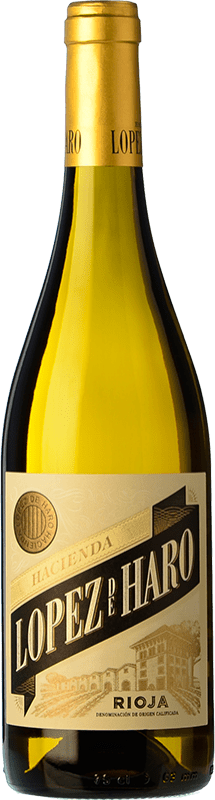 6,95 € Free Shipping | White wine Classica Hacienda López de Haro Barrica Crianza D.O.Ca. Rioja The Rioja Spain Viura Bottle 75 cl