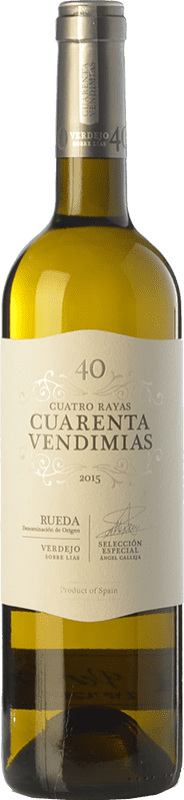 7,95 € 免费送货 | 白酒 Cuatro Rayas Cuarenta Vendimias D.O. Rueda 卡斯蒂利亚莱昂 西班牙 Verdejo 瓶子 75 cl