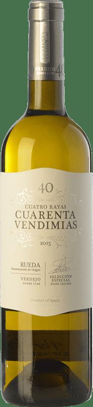 7,95 € Free Shipping | White wine Cuatro Rayas Cuarenta Vendimias D.O. Rueda Castilla y León Spain Verdejo Bottle 75 cl