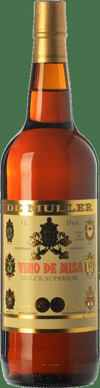 8,95 € Envío gratis | Vino dulce De Muller Vino de Misa D.O. Terra Alta Cataluña España Garnacha Blanca, Macabeo Botella Misil 1 L