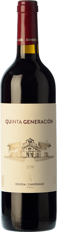 13,95 € Envío gratis | Vino tinto Dehesa de los Canónigos Quinta Generación Joven D.O. Ribera del Duero Castilla y León España Tempranillo Botella 75 cl