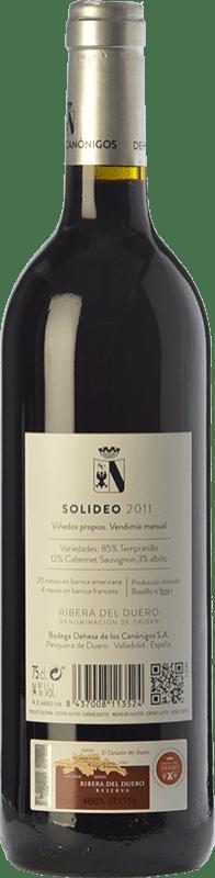 49,95 € | Red wine Dehesa de los Canónigos Solideo 24 Meses Reserva D.O. Ribera del Duero Castilla y León Spain Tempranillo, Cabernet Sauvignon, Albillo Bottle 75 cl