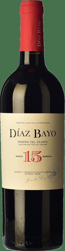 14,95 € Free Shipping | Red wine Díaz Bayo Nuestro Crianza D.O. Ribera del Duero Castilla y León Spain Tempranillo Bottle 75 cl