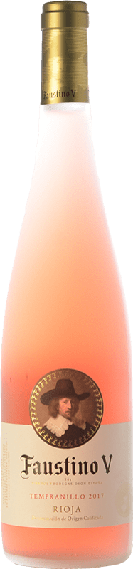 6,95 € Spedizione Gratuita | Vino rosato Faustino V Joven D.O.Ca. Rioja La Rioja Spagna Tempranillo Bottiglia 75 cl