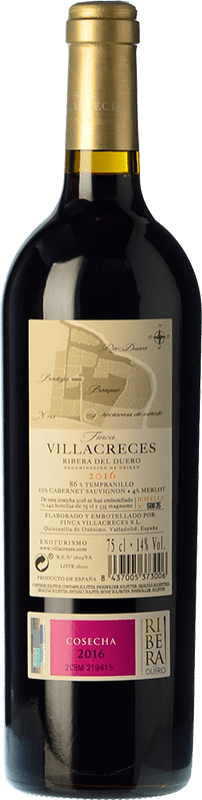 24,95 € | Red wine Finca Villacreces Crianza D.O. Ribera del Duero Castilla y León Spain Tempranillo, Merlot, Cabernet Sauvignon Bottle 75 cl