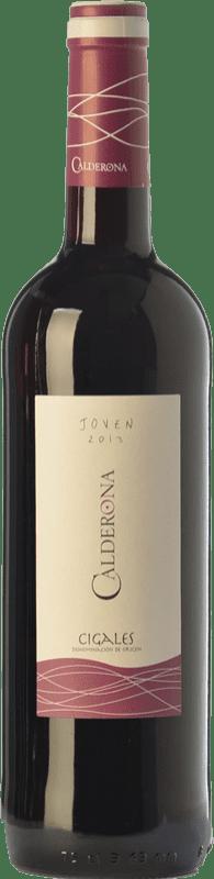 5,95 € Envío gratis | Vino tinto Frutos Villar Viña Calderona Joven D.O. Cigales Castilla y León España Tempranillo Botella 75 cl