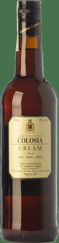 13,95 € Free Shipping | Liqueur Cream Gutiérrez Colosía D.O. Manzanilla-Sanlúcar de Barrameda Andalusia Spain Palomino Fino, Pedro Ximénez Bottle 75 cl
