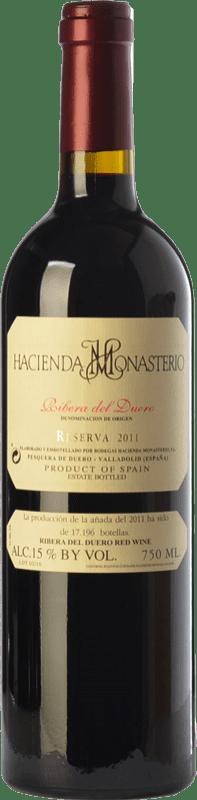 56,95 € Envío gratis | Vino tinto Hacienda Monasterio Reserva D.O. Ribera del Duero Castilla y León España Tempranillo, Cabernet Sauvignon Botella 75 cl