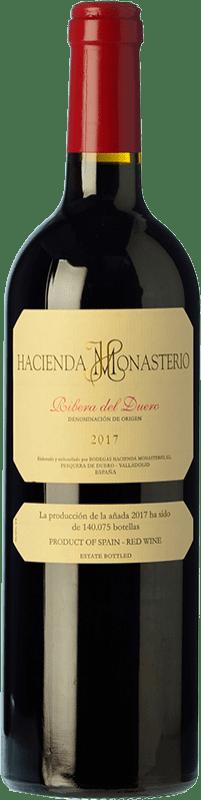 68,95 € Envío gratis | Vino tinto Hacienda Monasterio Crianza D.O. Ribera del Duero Castilla y León España Tempranillo, Merlot, Cabernet Sauvignon, Malbec Botella Mágnum 1,5 L
