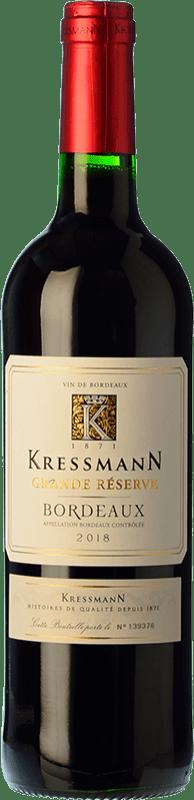 7,95 € Envío gratis | Vino tinto Kressmann Rouge Grande Réserve Gran Reserva A.O.C. Bordeaux Burdeos Francia Merlot, Cabernet Sauvignon, Cabernet Franc Botella 75 cl