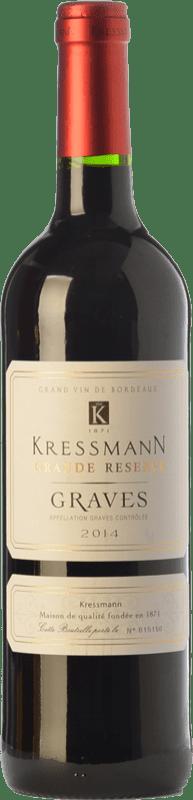 8,95 € Envío gratis | Vino tinto Kressmann Rouge Grande Réserve Gran Reserva A.O.C. Graves Burdeos Francia Merlot, Cabernet Sauvignon Botella 75 cl