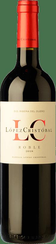 11,95 € 免费送货 | 红酒 López Cristóbal Roble D.O. Ribera del Duero 卡斯蒂利亚莱昂 西班牙 Tempranillo, Merlot 瓶子 75 cl