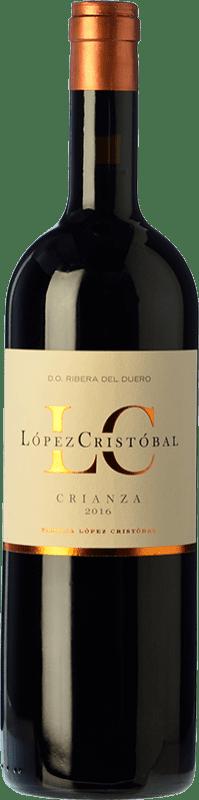 18,95 € 免费送货 | 红酒 López Cristóbal Crianza D.O. Ribera del Duero 卡斯蒂利亚莱昂 西班牙 Tempranillo, Merlot 瓶子 75 cl