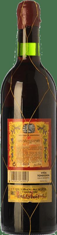 226,95 € Free Shipping | Red wine López de Heredia Viña Tondonia Gran Reserva D.O.Ca. Rioja The Rioja Spain Tempranillo, Grenache, Graciano, Mazuelo Bottle 75 cl