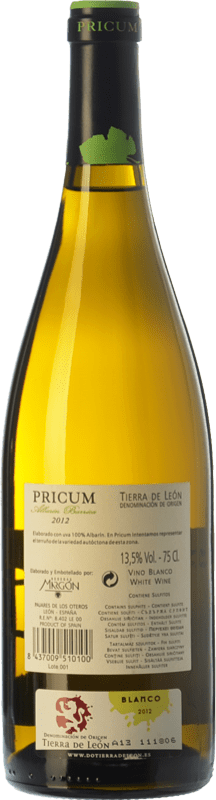 16,95 € | White wine Margón Pricum Barrica Crianza D.O. Tierra de León Castilla y León Spain Albarín Bottle 75 cl