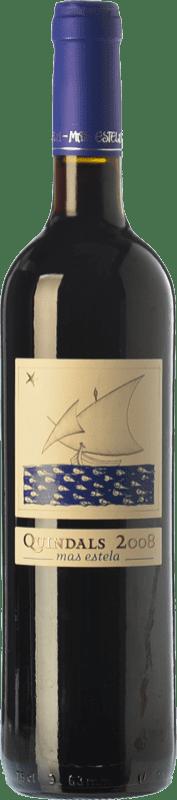 13,95 € Free Shipping | Red wine Mas Estela Quindals Crianza D.O. Empordà Catalonia Spain Syrah, Grenache, Carignan Bottle 75 cl