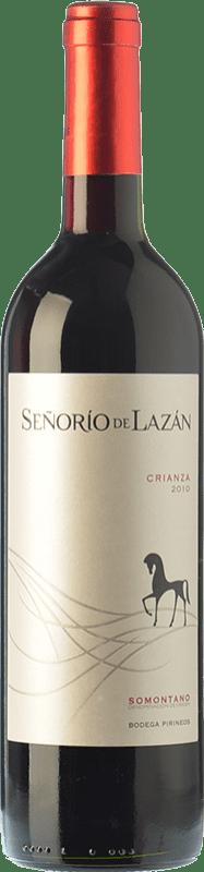 7,95 € Envío gratis | Vino tinto Pirineos Señorío de Lazán Crianza D.O. Somontano Aragón España Tempranillo, Merlot, Cabernet Sauvignon Botella 75 cl