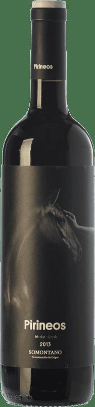 7,95 € Envío gratis | Vino tinto Pirineos Merlot-Syrah Joven D.O. Somontano Aragón España Merlot, Syrah Botella 75 cl