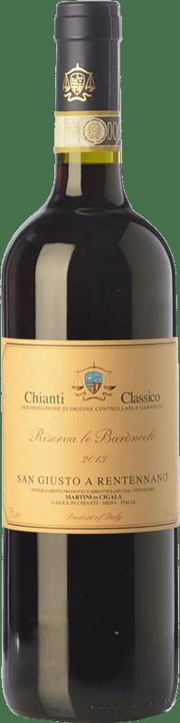 29,95 € 免费送货 | 红酒 San Giusto a Rentennano Le Baròncole D.O.C.G. Chianti Classico 托斯卡纳 意大利 Sangiovese, Canaiolo Black 瓶子 75 cl