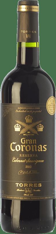 14,95 € 免费送货 | 红酒 Torres Gran Coronas Reserva D.O. Penedès 加泰罗尼亚 西班牙 Tempranillo, Cabernet Sauvignon 瓶子 75 cl